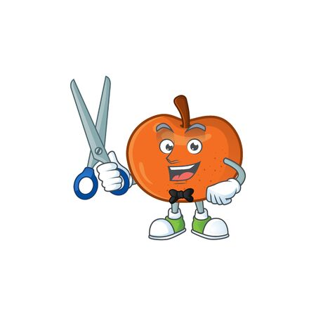Barber fresh tangerine juicy in cartoon character. vector illustration  イラスト・ベクター素材