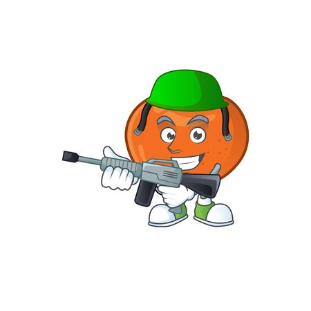 Army fresh tangerine juicy in cartoon character. vector illustration 矢量图像