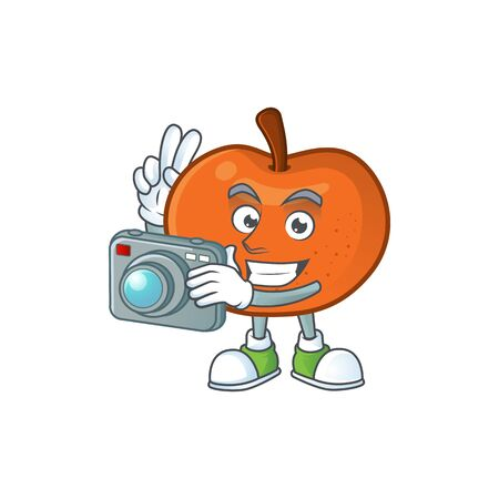 Photographer tangerine cartoon mascot on white background vector illustration