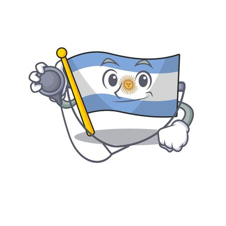 Doctor flag argentina cartoon the shaped mascot