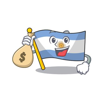 With money bag flag argentina cartoon the shaped mascot