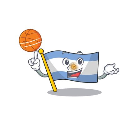 With basketball flag argentina cartoon the shaped mascot Иллюстрация