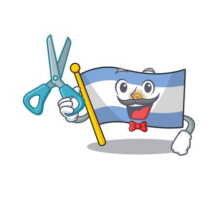 Barber flag argentina cartoon the shaped mascot