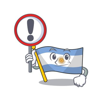With sign flag argentina cartoon the shaped mascot