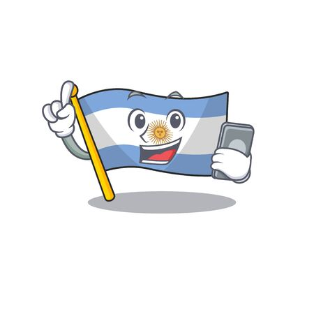 With phone flag argentina cartoon the shaped mascot Иллюстрация