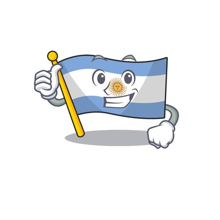 Thumbs up flag argentina isolated with the character Ilustração