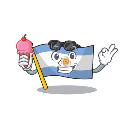 With ice cream flag argentina isolated with the character