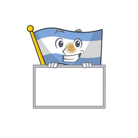 Grinning with board flag argentina cartoon the shaped mascot