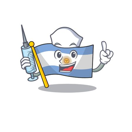Nurse flag argentina isolated with the character