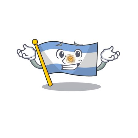 Grinning flag argentina isolated with the character