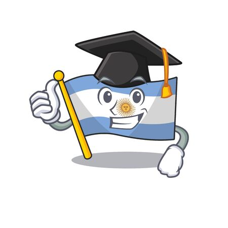 Graduation flag argentina isolated with the character