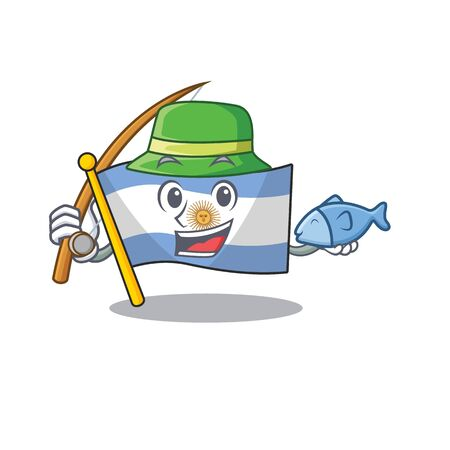 Fishing argentina character flag folded above table vector illustration Иллюстрация