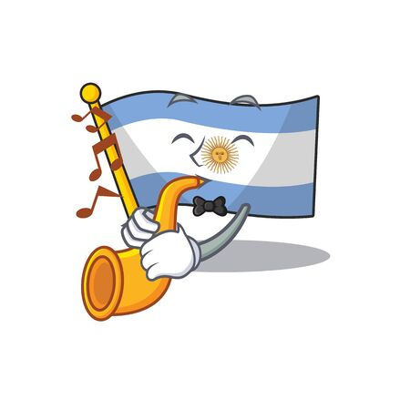 With trumpet argentina character flag folded above table
