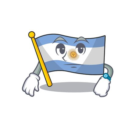Waiting argentina mascot flag kept in cartoon drawer