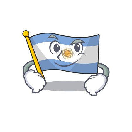 Smirking flag argentina isolated with the character