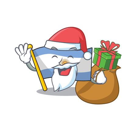 Santa with gift argentina mascot flag kept in cartoon drawer vector illustration