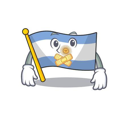 Silent argentina mascot flag kept in cartoon drawer vector illustration