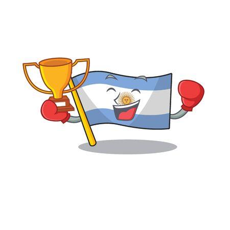 Boxing winner argentina mascot flag kept in cartoon drawer