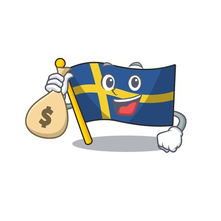 With money bag flag sweden character hoisted in cartoon pole