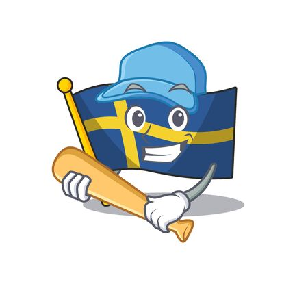 Playing baseball flag sweden character hoisted in cartoon pole