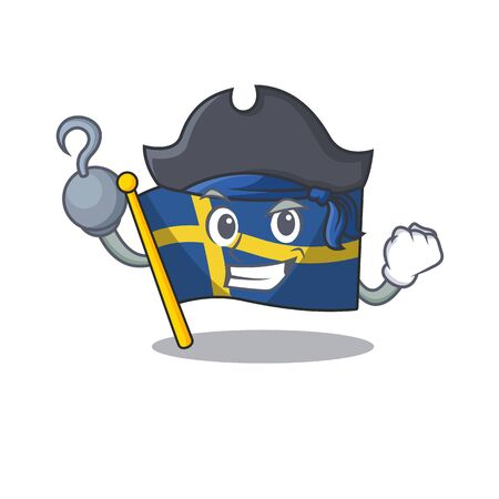 Pirate flag sweden character hoisted in cartoon pole Ilustracja