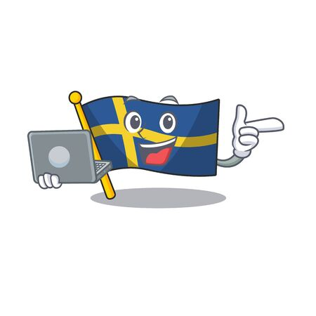 With laptop flag sweden character hoisted in cartoon pole vector illustration