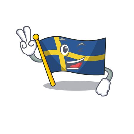 Two finger flag sweden isolated in the cartoon 일러스트