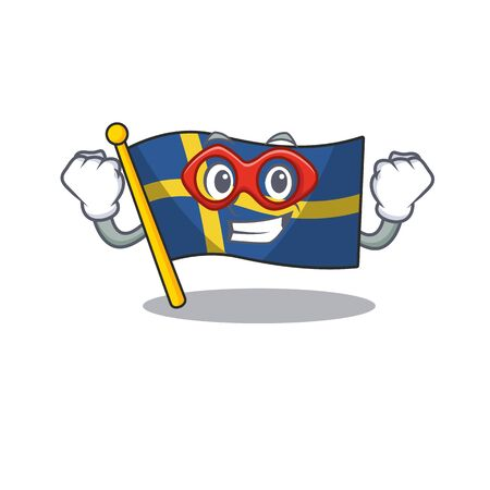 Super hero flag sweden isolated in the cartoon