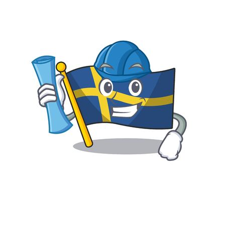 Architect flag sweden isolated in the cartoon