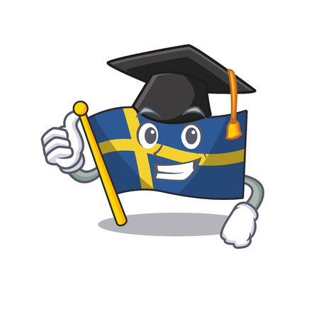 Graduation flag sweden isolated in the cartoon 일러스트
