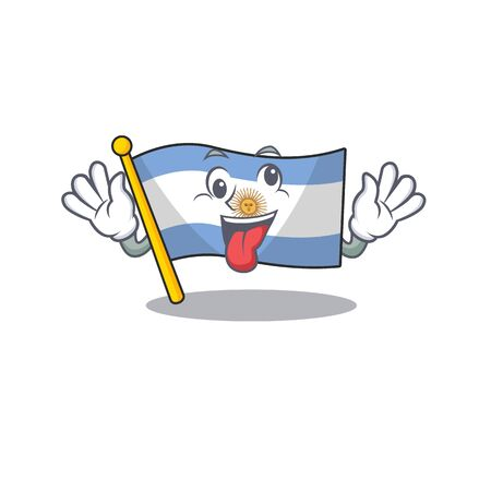 Crazy argentina mascot flag kept in cartoon drawer