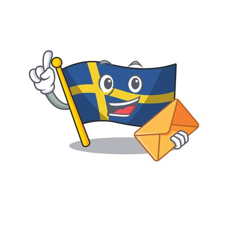 With envelope flag sweden isolated in the cartoon