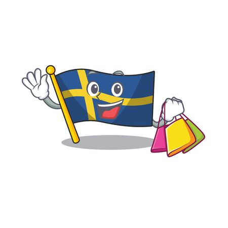 Shopping flag sweden isolated in the cartoon vector illustration Vettoriali