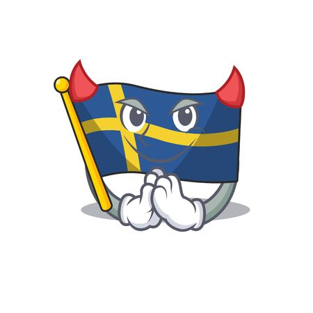 Devil flag sweden with the mascot shape 스톡 콘텐츠 - 129460536