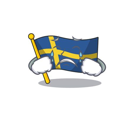 Crying flag sweden with the mascot shape vector illustration