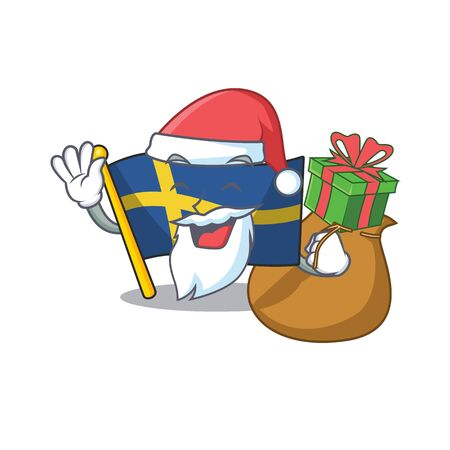 Santa with gift sweden flags flutter on character pole 스톡 콘텐츠 - 129460580