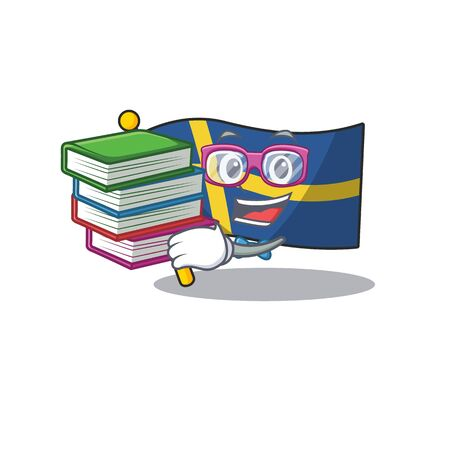 Student with book sweden flags flutter on character pole 스톡 콘텐츠 - 129461540