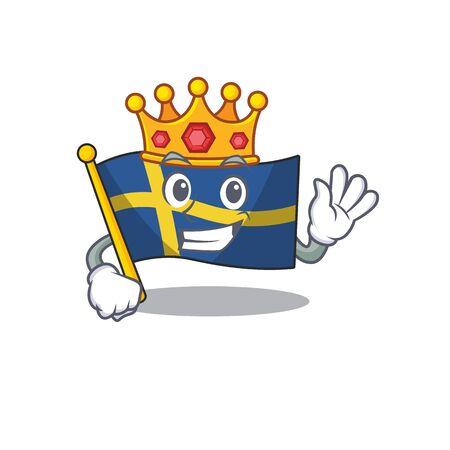 King sweden flags flutter on character pole