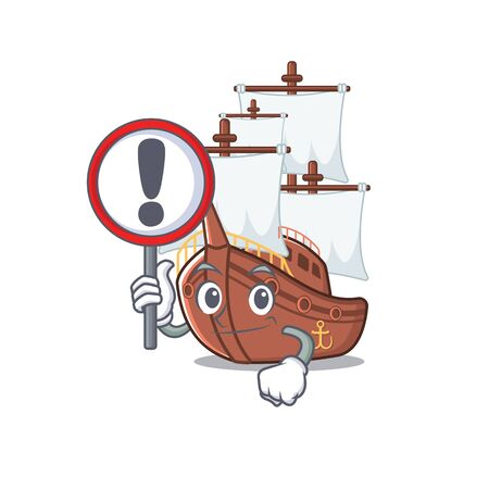 With sign pirate ship isolated with the cartoon vector illustration