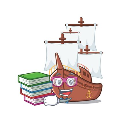 Student with book pirate ship with the cartoon shape