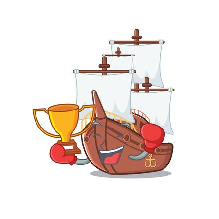 Boxing winner pirate ship with the cartoon shape Illustration