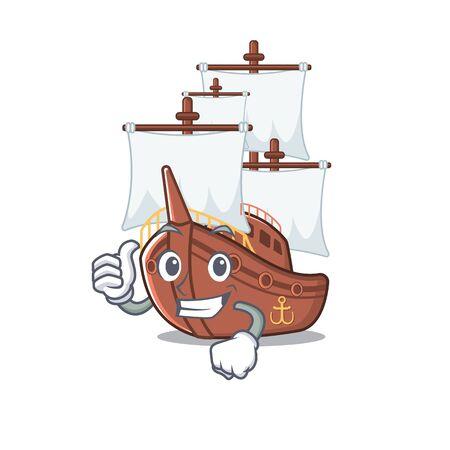 Thumbs up miniature pirate ship cartoon on table