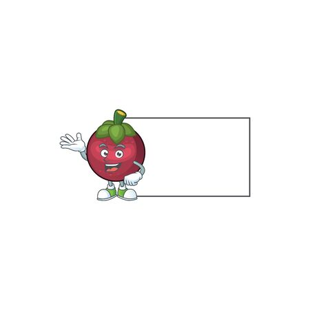 With board character sweet mangosteen isolated on cartoon vector illustration