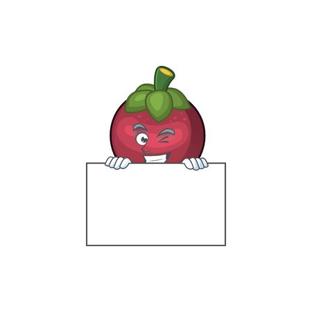 Grinning with board character sweet mangosteen isolated on cartoon vector illustration Ilustração