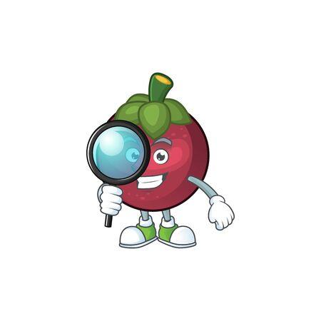 Detective fruit mangosteen cartoon character for health vector illustration Illustration