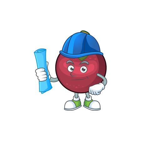 Architect fruit mangosteen cartoon character for health vector illustration