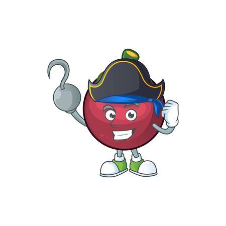 Pirate character sweet mangosteen isolated on cartoon vector illustration Illustration
