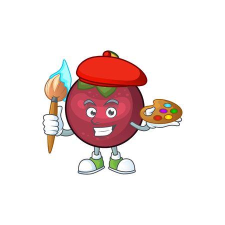 Painter character sweet mangosteen isolated on cartoon