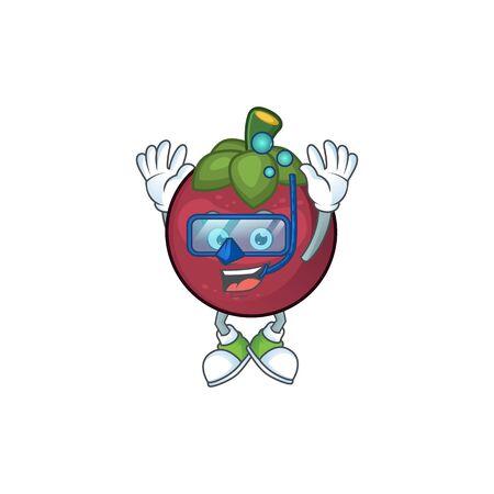 Diving fruit mangosteen cartoon character for health vector illustration Standard-Bild - 129461776