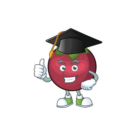 Graduation fruit mangosteen cartoon character for health vector illustration Illustration